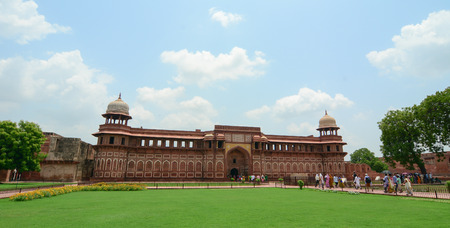 mughal empire: Agra, India - Jul 13, 2015. View of Agra Fort at the sunny day. The fort was built by the Mughals, can be more accurately described as a walled city in Agra, India.
