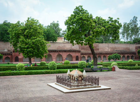 Agra, India - Jul 13, 2015. John Russell Galvin tomb at Agra Fort. The fort was built by the Mughals, can be more accurately described as a walled city in Agra, India. Editorial