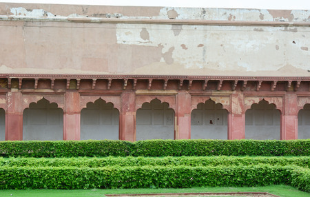 mughal empire: Agra Fort with the garden. The fort was built by the Mughals, can be more accurately described as a walled city in Agra, India.