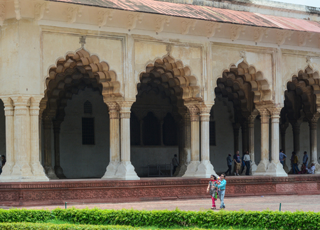 mughal empire: Agra, India - Jul 13, 2015. People at Diwan I Am (Hall of Public Audience) in Agra Fort. The fort was built by the Mughals, can be more accurately described as a walled city in Agra, India. Editorial