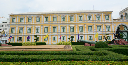 ministry: Bangkok, Thailand - June 30, 2015. View of Ministry of Defence building in Bangkok, Thailand. The Ministry controls and manage the Royal Thai Armed Forces.