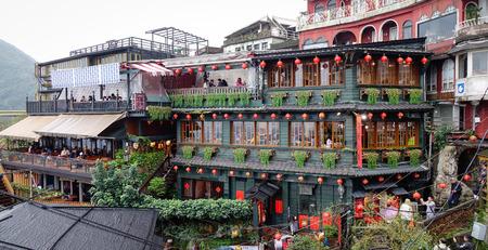 Jiufen, Taiwan - Jan 7, 2016. Hillside teahouses in Jiufen, Taiwan. People can seen walking and exploring around it.