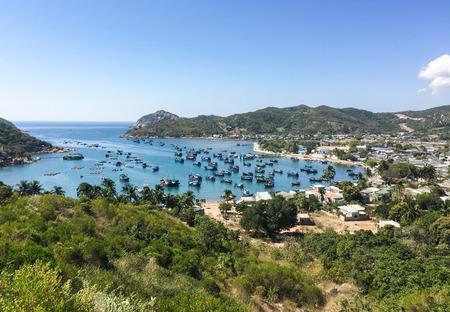 con dao: Many fishing boats docking on Vinh Hy Bay in Ninh Thuan, Vietnam.
