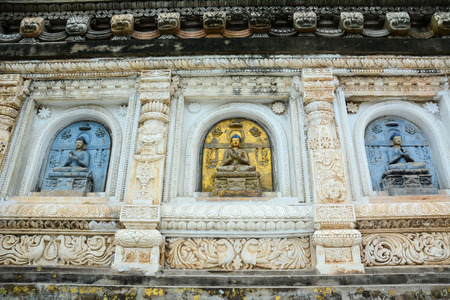 Decorated relief panel of Mahabodhi Temple in Gaya district in the state of Bihar, India. Stock Photo