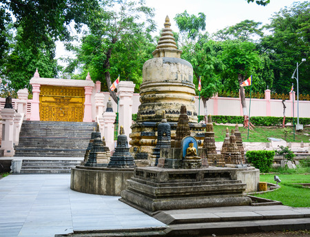 Bodhgaya, India - Jul 9, 2016. Small stupa at Mahabodhi Temple in Bodhgaya, India.