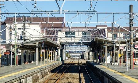 rail track: Tokyo, Japan - Jan 2, 2016. View of rail track at train station in Tokyo, Japan. Editorial