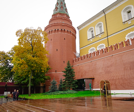 Moscow, Russia - Oct 4, 2016. People visit the Kremlin Wall in Moscow, Russia. The Eternal Flame burns in memory of the millions of Soviet soldiers who fell in the struggle against Nazism.