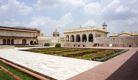 Agra, India - Jul 13, 2015. View of the main hall at Agra Fort. The fort was built by the Mughals, can be more accurately described as a walled city in Agra, India.