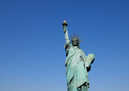 Replicas of the Statue of Liberty at Odaiba Park in Tokyo, Japan. It measures approximately 12.25 meters tall and weighs about nine tons.