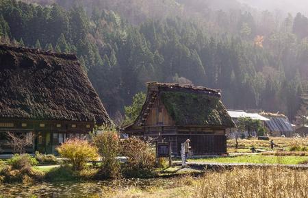 largest: Gifu, Japan - Dec 2, 2016. Traditional and Historical Japanese village Shirakawago at the sunny day in Gifu, Japan. Ogimachi is the largest village and main attraction of Shirakawa-go. Editorial