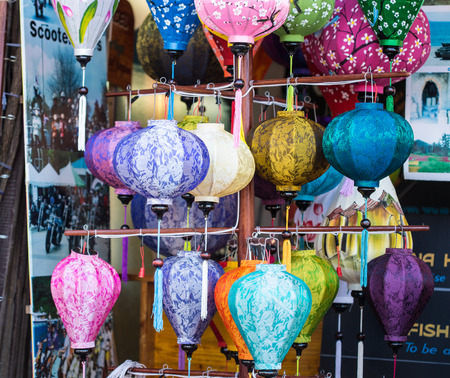 largest: HOI AN, VIETNAM - DEC 1, 2015. Traditional lanterns in the ancient town of Hoi An, Vietnam. Hoi An possessed the largest harbour in Southeast Asia in the 1st century. Editorial