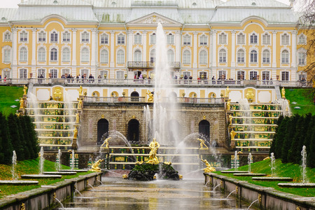 modelled: St. Petersburg, Russia - Oct 9, 2016. Grand Peterhof Palace and the Grand Cascade at Peterhof in Saint Petersburg, Russia. The Grand Cascade is modelled on one constructed for Louis XIV. Editorial