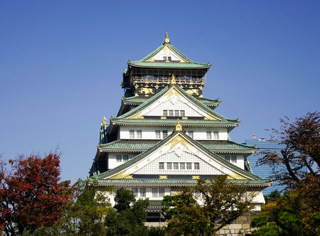 Osaka Castle in Osaka, Japan. The construction of Osaka Castle started in 1583 on the former site of the Ishiyama Honganji Temple.