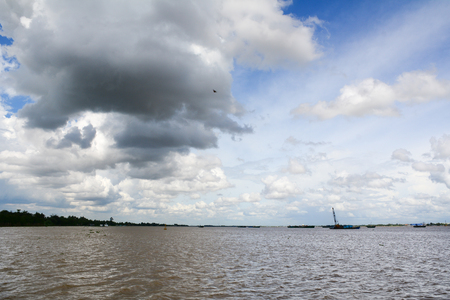 storm coming: Landscape of Mekong River in Southern Vietnam. A storm coming. Stock Photo