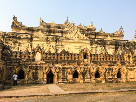 Innwa, Myanmar - Feb 22, 2016. People visit Maha Aung Mye Bonzan monastery in Innwa, Myanmar. Inwa was the capital of Burma for nearly 360 years, from 1365.