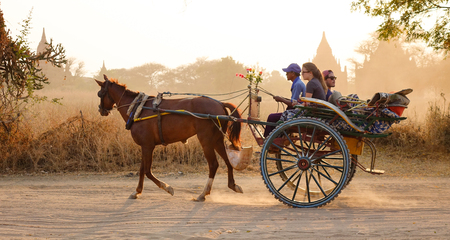 horse cart: Bagan, Myanmar - Feb 19, 2016. A horse cart carrying tourists on dusty road at sunset in Bagan, Myanmar. Bagan in central Burma is one of the worlds greatest archeological sites.