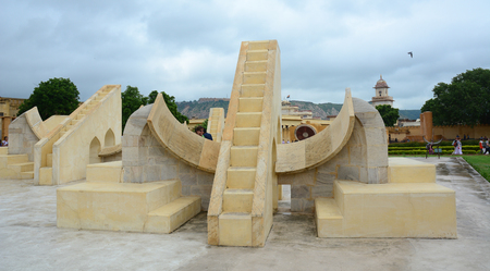 Jaipur, India - Jul 27, 2015. Astronomical Observatory Jantar Mantar in Jaipur, India. Jantar Mantar is a collection of 19 instruments, built by the Rajput king Sawai Jai Singh.