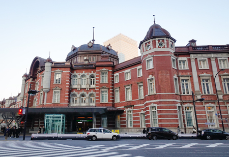 Tokyo, Japan - Dec 31, 2015. View of the Main Station in Tokyo, Japan. Open in 1914, a major a railway station near the Imperial Palace grounds and Ginza commercial district. Editorial