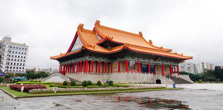 Taipei, Taiwan - Jan 6, 2016. View of National Opera House at Chiang Kai-Shek Memorial Complex in Taipei. The National Sun Yat-sen Memorial Hall near Taipei 101 in Xinyi District.