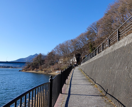 kawaguchi ko: Yamanashi, Japan - Jan 1, 2016. Tourists walking on trail near Kawaguchi-ko Lake at sunny day in Japan. Lake Kawaguchi is located in southern Yamanashi near Mount Fuji, Japan.