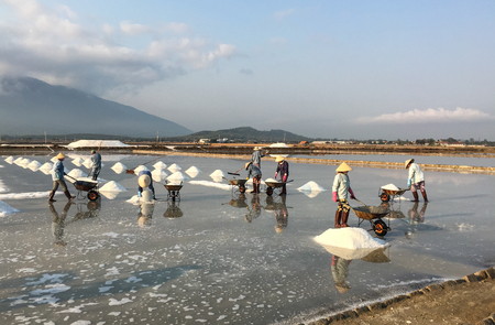 Khanh Hoa, Vietnam - Mar 21, 2016. Women with conical hat working on salt fields in Ninh Hoa, Khanh Hoa, Vietnam. About 40 kilometers north of Nha Trang, there are immense salt fields.
