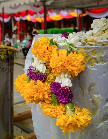 Praying flowers at the temple in Bangkok, Thailand . Stock Photo