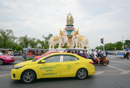 BANGKOK, THAILAND - JUL 31, 2015. Traffic on a busy road near Royal Palace in Bangkok, Thailand. Traffic jams are common in Bangkok.