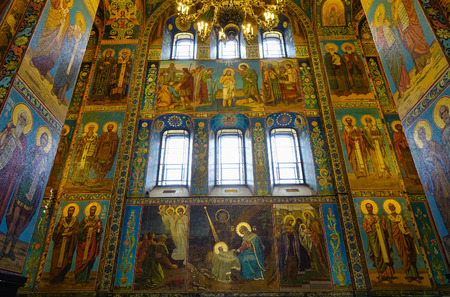 St Petersburg, Russia - Oct 10, 2016. Interior of the church of the Savior on Spilled Blood, Saint Petersburg, Russia. The Church was built on the site where Emperor Alexander II.