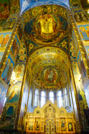 St Petersburg, Russia - Oct 10, 2016. Wall mosaics at the church of the Savior on Spilled Blood, Russia. The church is one of the main sights of St. Petersburg.
