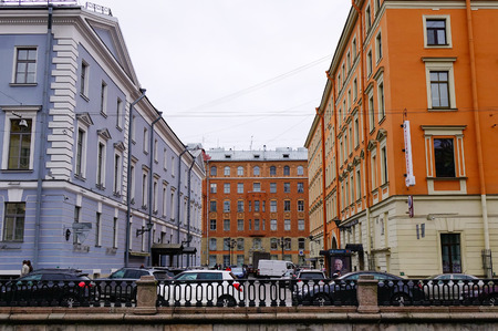Saint Petersburg, Russia - Oct 10, 2016. Old buildings in Saint Petersburg downtown, Russia. St Petersburg is the most Westernized city of Russia, as well as its cultural capital.