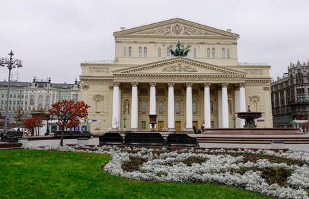frequented: Moscow, Russia - Oct 17, 2016. Bolshoi Theatre with garden in Moscow, Russia. The Bolshoi Theatre is famous throughout the world. It is frequented by tourists. Editorial