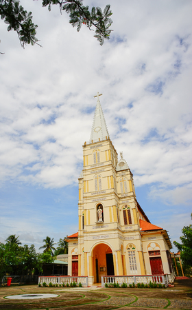 View of Catholic Church in Mekong Delta, Vietnam. The Mekong Delta, as a region, lies immediately to the west of Ho Chi Minh City. Stock Photo