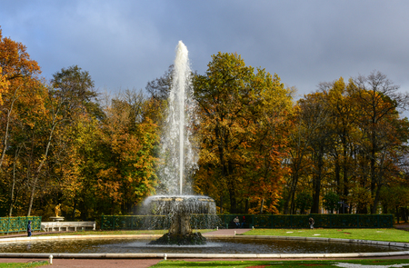olympus: St Petersburg, Russia - Oct 9, 2016. The Grand Foutain at autumn in Peterhof, Saint Petersburg, Russia. The Peterhof Museum Complex is one of the most popular museums not only in Russia. Editorial