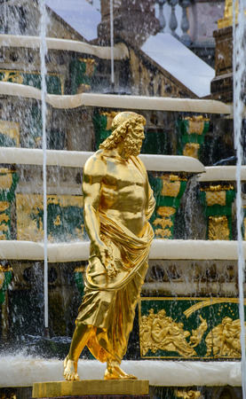St Petersburg, Russia - Oct 9, 2016. The Grand Cascade, Peterhof Palace, Saint Petersburg, Russia. The Grand Cascade is modelled on one constructed for Louis XIV at his Chateau de Marly.