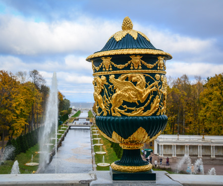 St Petersburg, Russia - Oct 9, 2016. A mable relief for decorations at Peterhof, St Petersburg, Russia. The Peterhof Museum is one of the most popular museums in Russia.