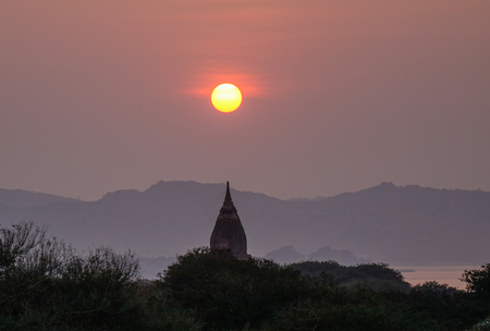 fascinate: Landscape of Buddhist temples at sunset in Bagan, Myanmar. Bagan is an ancient city in central Myanmar (formerly Burma), southwest of Mandalay.