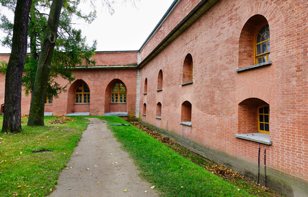Old brick buildings located at ancient town in St. Petersburg, Russia. Saint Petersburg is one of the worlds youngest great cities. Stock Photo