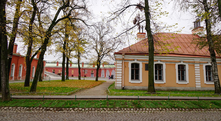 St. Petersburg, Russia - Oct 14, 2016. Old brick houses located at the Peter and Paul Fortress in St. Petersburg, Russia. The fortress founded by Peter the Great in 1703. Editorial