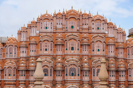 Facade of Hawa Mahal palace (Palace of the Winds) in Jaipur, Rajasthan, India. The city of Jaipur was founded in 1726 by Jai Singh II. Stock Photo