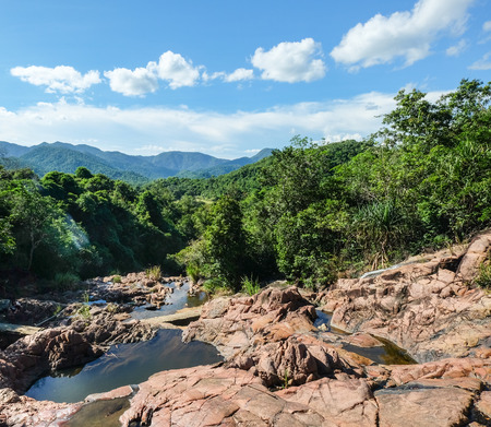 Mountain scenery with rocks in Dalat, Vietnam. Dalat is a city located on Lang Biang highlands – part of the Central Highlands region of Vietnam.