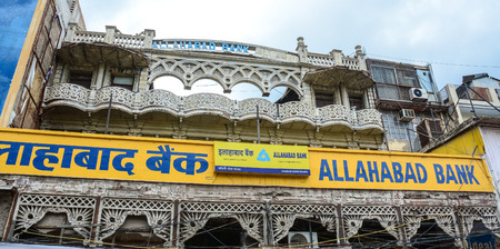 mughal empire: Delhi, India - Jul 26, 2015. Allahabad Bank located at the old market in Delhi, India. According to the 2011 census of India, the population of Delhi is 16,753,235.