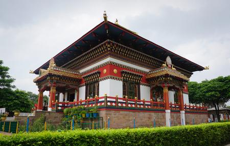 bodhgaya: Bodhgaya, India - July 22, 2015. View of the traditional Bhutanese Buddhist temple in Bodhgaya, India. Bodh Gaya is the most revered of all Buddhist sacred sites.