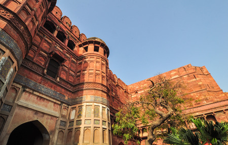 mughal empire: Details of Agra Fort at the sunny day in India. The fort was built by the Mughals, can be more accurately described as a walled city in Agra, India.