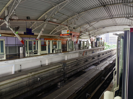 Kuala Lumpur, Malaysia - Jan 17, 2017. Railtrack at the metro station in Kuala Lumpur, Malaysia. Rail transport in Kuala Lumpur encompasses the light metro (LRT) and monorail. Editorial