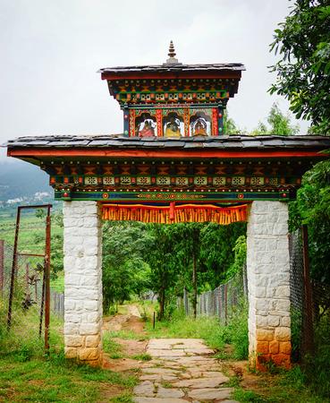 The gate of Tibetan monastery at countryside in Thimphu, Bhutan.