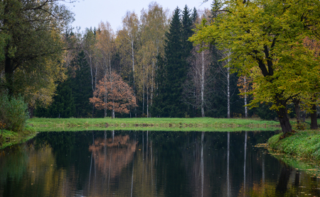 kilometres: Lake scenery with the forest in Saint Petersburg, Russia. Russia is the largest country in the world; its total area is 17,075,200 square kilometres. Stock Photo