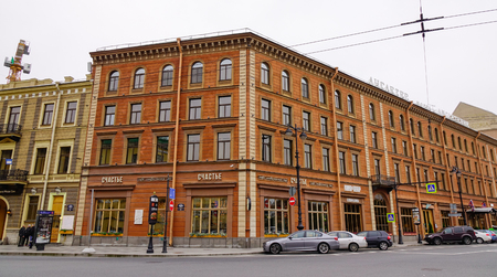 Saint Petersburg, Russia - Oct 13, 2016. Old buildings in Saint Petersburg downtown, Russia. Much of St. Petersburg architecture is Baroque and neoclassical.