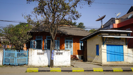 Pyin Oo Lwin, Myanmar - Feb 12, 2017. Ancient houses in Pyin Oo Lwin, Myanmar. The small town of Pyin Oo Lwin is a reminder of the British colonial times in Myanmar.