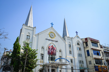 immanuel: Yangon, Myanmar - Feb 13, 2017. Immanuel Baptist Church in Yangon, Myanmar. Downtown Yangon is still mainly made up of decaying colonial buildings.