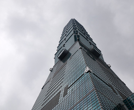 Taipei, Taiwan - Jan 8, 2016. Taipei 101 building located at downtown in Taipei, Taiwan. Construction on the 101-story tower started in 1999 and finished in 2004.